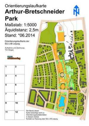 Orientierungslaufkarte Arthur-Bretschneider-Park Leipzig mit Maßstab 1:5000