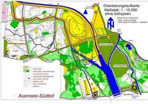 Orientierungslaufkarte Auenwald Süd Leipzig mit Maßstab 1:10000