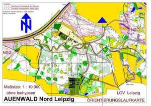 Orientierungslaufkarte Auenwald Nord Leipzig mit Maßstab 1:10000