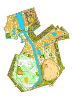 Orientierungslaufkarte Clara-Zetkin-Park Leipzig mit Maßstab 1:10000