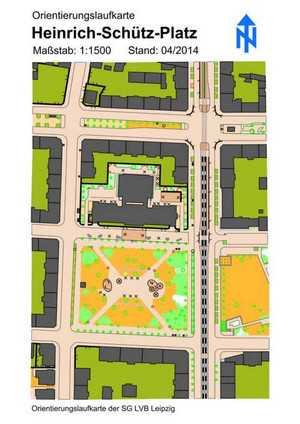 Orientierungslaufkarte Heinrich-Schütz-Platz Leipzig mit Maßstab 1:1500