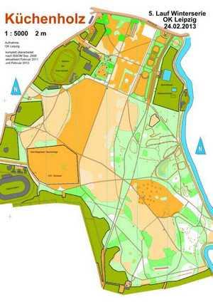 Orientierungslaufkarte Küchenholz Leipzig mit Maßstab 1:5000