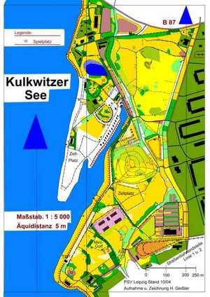 Orientierungslaufkarte Kulkwitzer SeeLeipzig mit Maßstab 1:5000