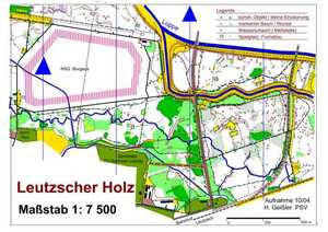 Orientierungslaufkarte Leutzscher Holz Leipzig mit Maßstab 1:7500