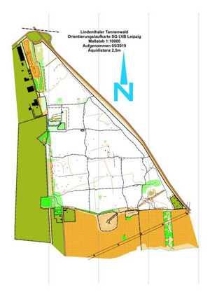 Orientierungslaufkarte Lindenthaler-Tannenwald Leipzig mit Maßstab 1:10000