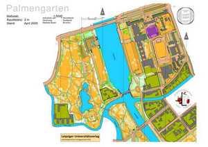 Orientierungslaufkarte Palmgarten Leipzig mit Maßstab 1:5000