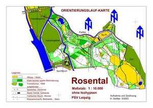Orientierungslaufkarte Rosental Leipzig mit Maßstab 1:10000