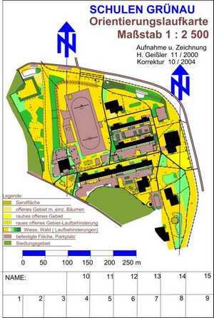 Orientierungslaufkarte Schulen GrünauLeipzig mit Maßstab 1:2500