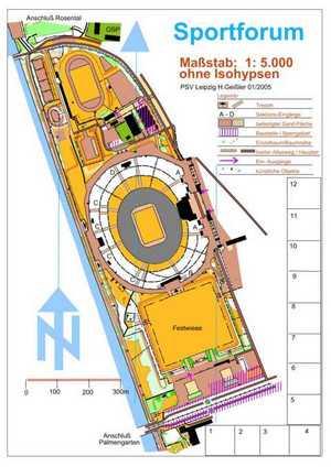 Orientierungslaufkarte Sportforum Leipzig